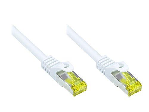 Good Connections RJ45 Ethernet LAN Patchkabel mit Cat. 7 Rohkabel und Rastnasenschutz RNS, S/FTP, PiMF, halogenfrei, 500MHz, OFC, 10-Gigabit-fähig (10/100/1000/10000-Base-T Ethernet Netzwerke) - z.B. für Patchpanel, Switch, Router, Modem - weiß, 3 m
