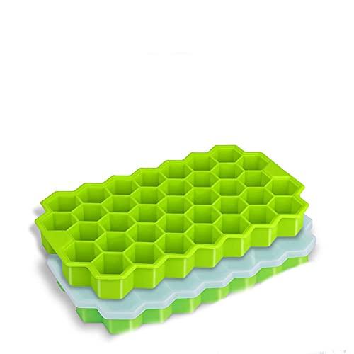 JIEYUEBAI 37 Grids Hielo Cube Bandeja Honeycomb Moldes de Cubitos de Hielo con Tapa de remoción Moldes de Hielo de Silicona para Jugo de Whisky Cocktail Ice Fabricador de Hielo (Color : C)