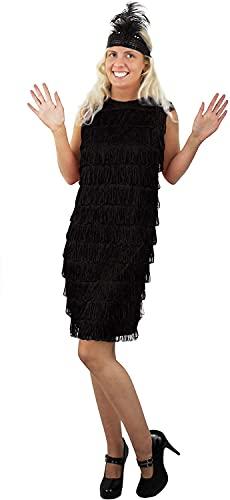 ILoveFancyDress Déguisement garçonne des années 20 pour femme Robe à franges avec bandeau à plumes et paillettes assorti - UK 14-16 - Noir