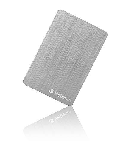 Verbatim Store 'n' Go ALU Slim 2,5' - 1 TB, Externe Festplatte mit USB 3.2 GEN 1 und USB-C Verbindung, Silber