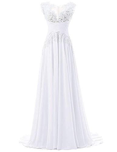 Abendkleider Lang A-Linie Ballkleider Brautjungfernkleider Spitzen Hochzeitskleid Empire Festkleider Weiß 32