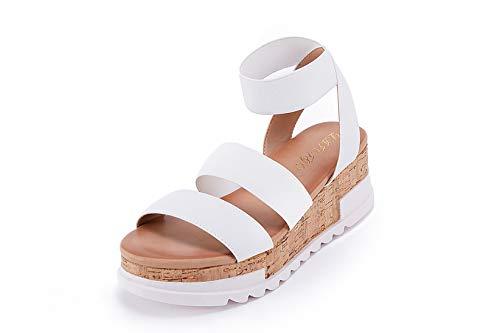 Women's Wedge Sandals Platform Sandals Cork Elastic Strap Sandals