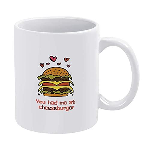 You Had Me at Cheeseburger Taza de café divertida taza de té para hombres, mujeres, niños, Navidad, para mujer, mujer, mujer, mujer, madre, abuela, maestro, amigas, cumpleaños, día de la madre P