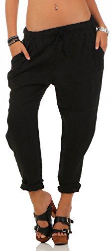 Malito Damen Hose aus Leinen | Stoffhose in Unifarben | Freizeithose für den Strand | Chino - Jogginghose 6816 (schwarz, XL)
