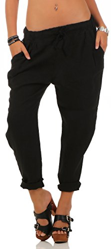Malito Damen Hose aus Leinen | Stoffhose in Unifarben | Freizeithose für den Strand | Chino - Jogginghose 6816 (schwarz, S)