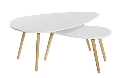KITKAY Set 2 mesas de Centro ovaladas en Haya y Blanco