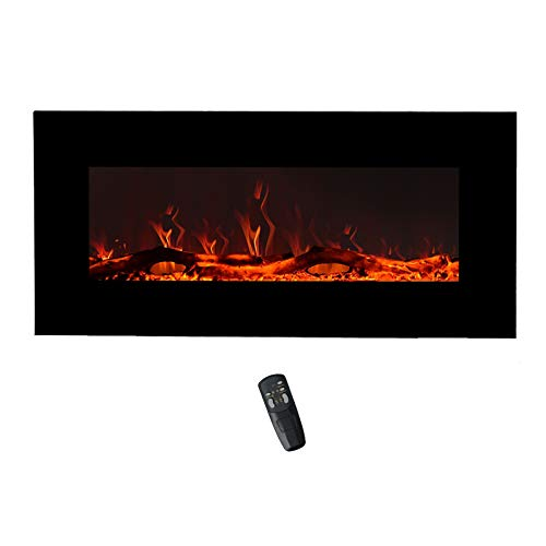 FLAME&SHADE Wall Mounted Electric Fireplace, 34-Inch Wide Flat Screen, Freestanding or Hanging Portable Room Heater with Remote