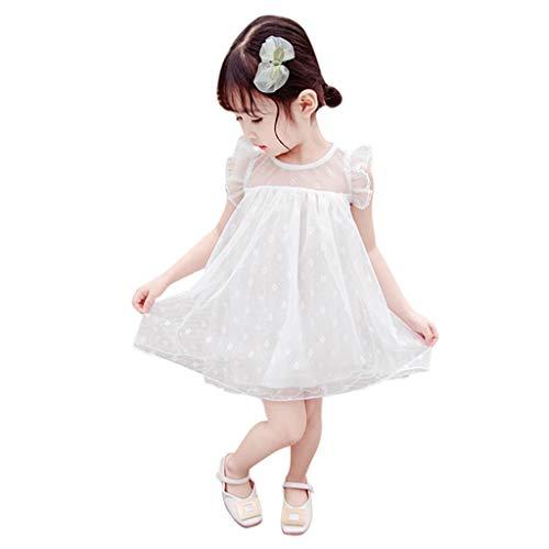 ELECTRI Robe de Baptême Bébé Fille Manches Courte Robe de Princesse Bébé Fête d'anniversaire Robe de Cérémonie Soirée Fille Robe de Mariage Dentelle Tulle Robe de Communion