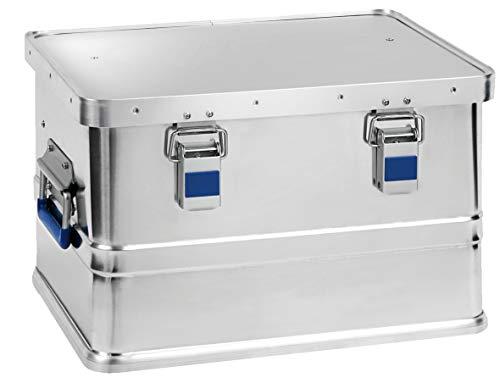 hünersdorff Caja de aluminio eco de 30 litros, impermeable, con junta de goma, ligera, estable, asas plegables, preparación para cerraduras, color plateado, 451050