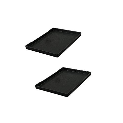 MagiDeal 2x Plateau Mélamine Vaisselle Tasse Noir Plateau Servir 35x25.2cm