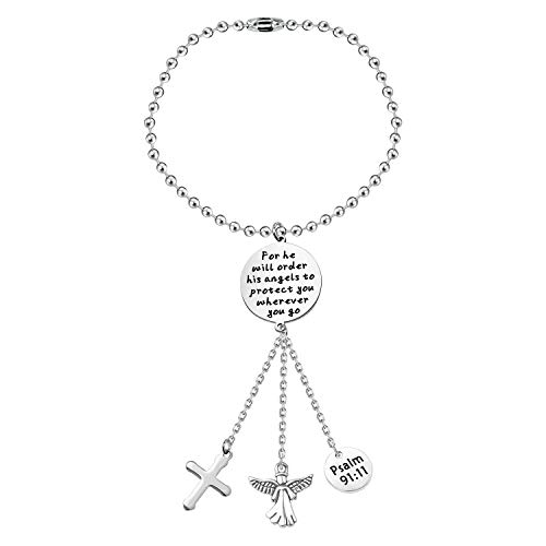 CENWA Guardian Angel Car Charm Driver Gift for He Will Order His Angels to Protect You Wherever You Go Car Interior Decoration Drive Safe Gift (Wherever You go Car)