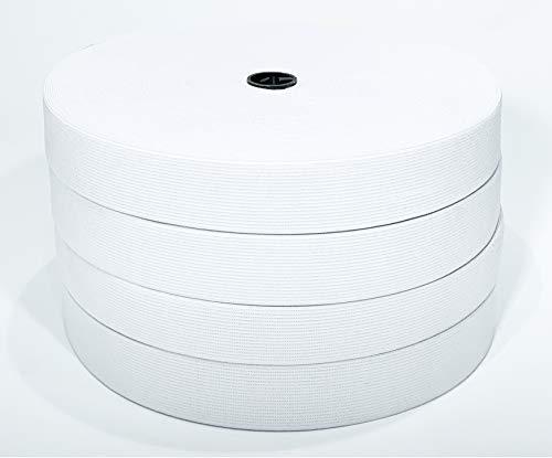 J & C Elastische Flachnähbänder, für Kleidung und Handwerk, 40 mm x 25 mm, Weiß