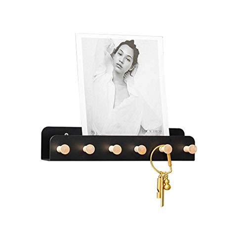 HJW Praktische opbergrek zwart zwevende plank wandplank decoratieve wandplank opknoping opbergrek voor slaapkamer hal, kantoor, woonkamer, keuken 1Huiyang-01020, zwart