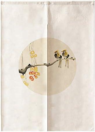 MYRU Tenda curtian Feng Shui con Fiori e Uccelli Cinesi 33 by 59 inch Yellow Ostrich-b