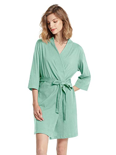SIORO Cotton Bath Robe Women's Kimono Lightweight Bathrobe Plus Size Summer Knit Shower Spa Soft House Coat V-Neck Ladies Nightwear,Green Mist X-Large
