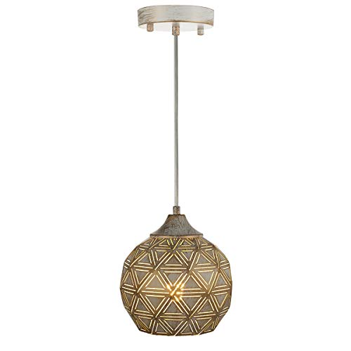 SYDTOP Industrial Mini Pendant Light with Handcrafted Metal Geometric Shape Contemporary 1-Light Rustic Pendant Lighting Fixture for Kitchen Island Dining Room Sink Bar Counter Loft, Antique White