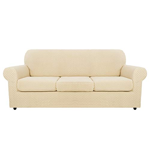 MAXIJIN 4 Piece Newest Jacquard Extra Large Couch Covers for 3 Seater Super Stretch Non Slip Couch Cover for Dogs Pet Friendly Sofa Slipcover Furniture Protector (4 Seater, Light Beige)