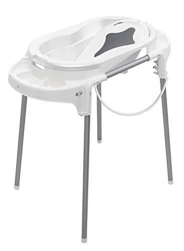 Rotho Babydesign TOP Badestation, Mit Baby Badewanne, Wannenständer, Wanneneinsatz und Ablaufschlauch, 0-12 Monate, Weiß, 21042 0001 01