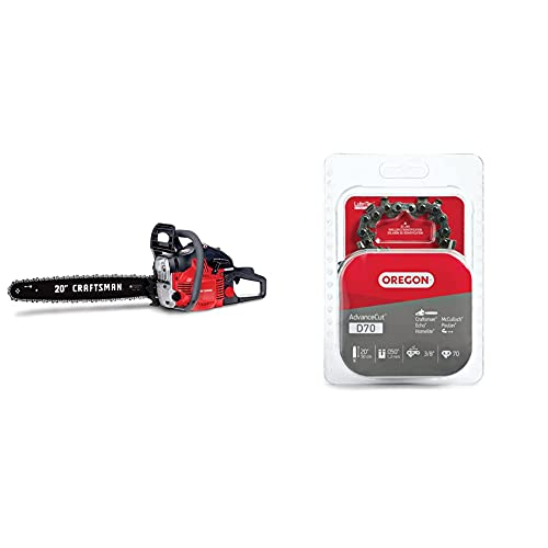 Craftsman CMXGSAMY426S 46cc 2-Cycle Full Crank 20-Inch Gas Powered Chainsaw, 16-in, Liberty Red & Oregon D70 AdvanceCut Chainsaw Chain for 20-Inch Bar; .050-Inch Gauge, 70 Drive Links