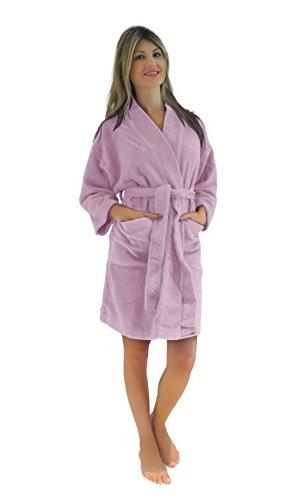 Bath & Robes Damen Bademantel, Chenille, kurz, Knielang, weich - Pink - Small/Medium