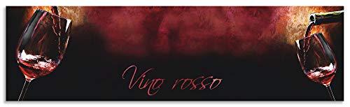 Artland Spritzschutz Küche aus Alu für Herd Spüle 180x50 cm Küchenrückwand mit Motiv Spruch Getränke Wein Rotwein Italien Kunst Bordeau