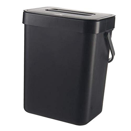 MagiDeal Trash Can, Fissato al Muro Bidone dei Rifiuti, Appeso Bidone della Spazzatura per Armadio da Cucina Porta, Auto di plastica Bagno Cestino dei Rifiuti - Nero 5L