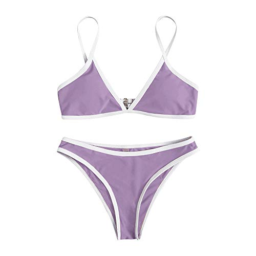 FUPOZ Damen Bikini Set Zweiteilige Badeanzug High Cut Bralette Sexy Swimsuit Sommer (086Lila,S)