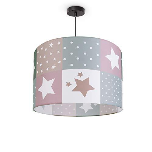 Kinderlampe Deckenlampe LED Pendelleuchte Kinderzimmer Lampe Sternen Motiv E27, Lampenschirm:Pink (Ø45.5 cm), Lampentyp:Pendelleuchte Schwarz