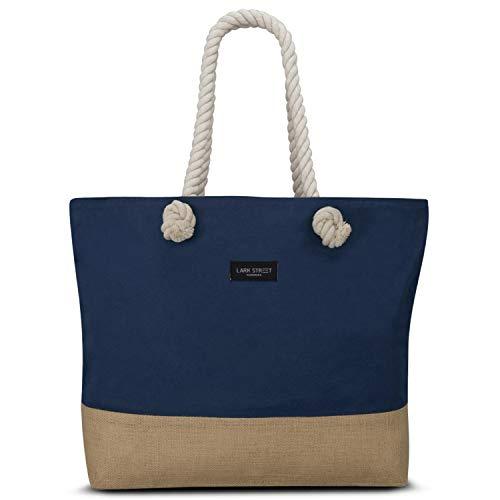 LARK STREET Strandtasche Blau Beach Bag für Damen & Herren aus robustem Baumwoll Canvas & Jute - Badetasche mit breiten Kordeln für angenehmen Tragekomfort - Große Tasche mit Reißverschluss