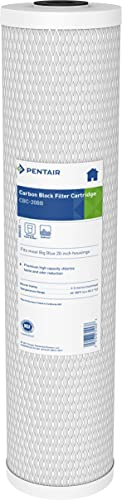 Pentair Pentek CBC-20BB Big Blue Carbon Water Filter, 20-Inch, Whole House Carbon Block Replacement Cartridge with Bonded Powdered Activated Carbon (PAC) Filter, 20' x 4.5', 0.5 Micron
