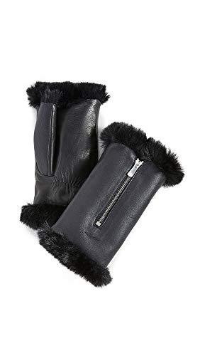 Agnelle Women's Barbara Fingerless Gloves, Noir, Black, 2