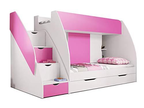 Idzczak Meble Hochbett Martin, Modern Kinderzimmer Etagenbett, Doppelstockbett mit Bettkasten, Schublade, Jugendzimmmer Bett (Weiß + Rosa)
