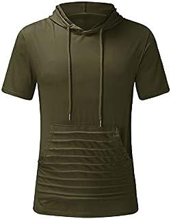 Fbnzmluqdx Tshirt for Men Hooded T-shirt Men's Summer Sport Slim Casual Fit Hooded Pockets Short Sleeve T-shirt Top Fashio...
