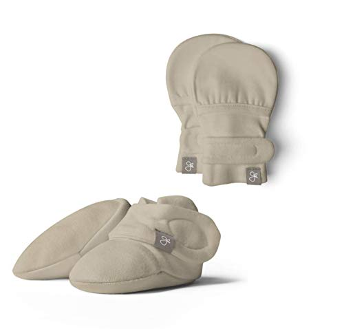 Baby Booties & Mittens Bundle, Adjustable Soft & Secure (0-3 Months, Soybean)
