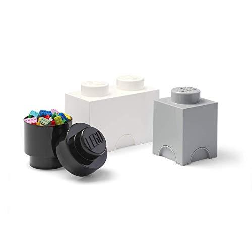 Room Copenhagen Multipack de Ladrillos de Almacenamiento de Lego, pequeño. Cajas de almacenaje apilables. Conjunto de 3 Piezas. (Negro, Blanco, Gris), Mix, One Size