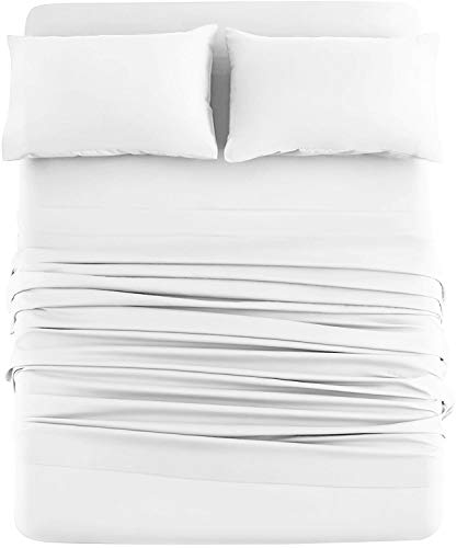 DAN RIVER Queen Jersey Sheet Set  Luxury Heather 100% Cotton Bed Sheets  T-Shirt Sheets  All Season Bedding  Soft Comfortable Deep Pocket Jersey Cotton Bed Sheets (4Pc, Queen, White)