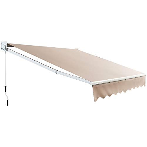 Tangkula 8'× 6.5' Retractable Awning, Aluminum Patio Sun Shade w/Crank Handle and Water-Resistant Polyester, Outdoor Patio Manual Awning Cover, Beige