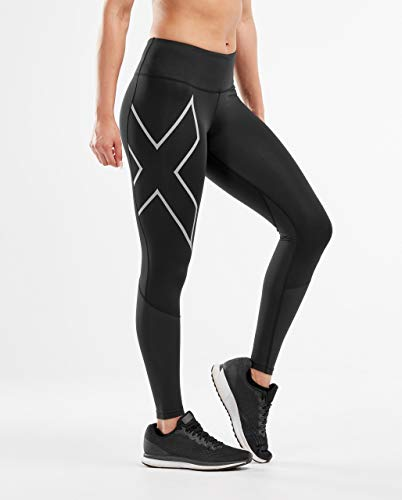 2XU Damen Run Mid-Rise Dash Compression Tight-WA5988b Strumpfhose, Schwarz/Silber reflektierend, XS