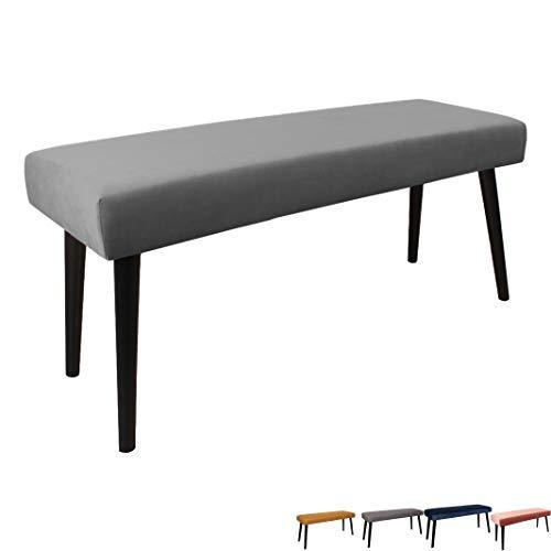 Nimara Gepolsterte Samt Sitzbank mit schwarzen Beinen | Perfekt für Esszimmer und Schlafzimmer und als Deko Bank | Erhältlich in grau, dunkelblau, rosa und Mehreren Farben | 100x35x45 (Grau)