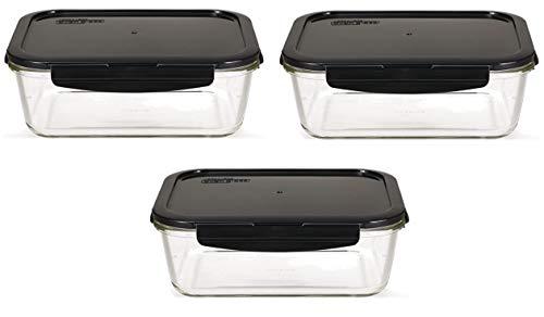 LOCK & LOCK Boroseal Frischhaltedosen aus Glas - 3er Vorratsdosenset - eckig - für Backofen, Mikrowelle & zum Einfrieren - 1 Liter