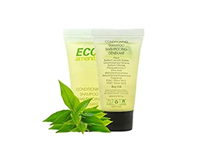 ECO Amenities Individually Wrapped Mini Size 22ml Shampoo and Conditioner 2 in 1, Green Tea Scent, 288 Tubes per Case