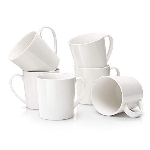 DOWAN - Juego de 6 tazas de café grandes de 510 ml, para regalo del día del padre, color blanco