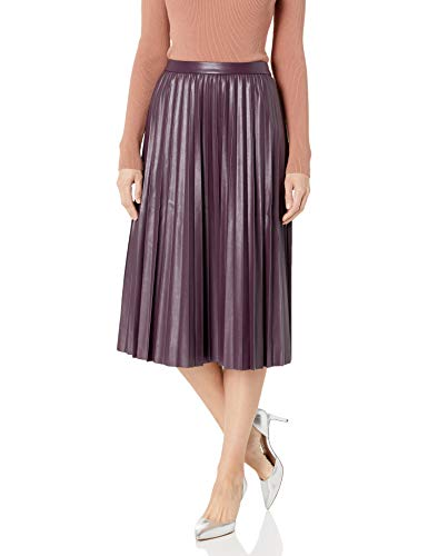 Calvin Klein Women's Pleated Faux Leather Skirt, aubergine, 8