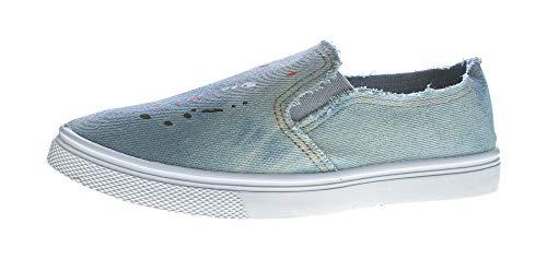 Damen Slipper Jeans-Stoff Halb Schuhe Blau Ballerinas flach Used-Look Sneakers Hellblau 36