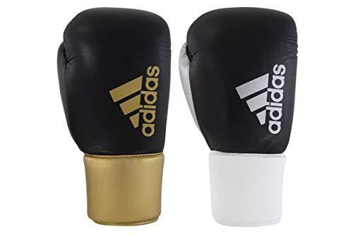 adidas - Guantes de Boxeo Unisex híbridos 400 Pro de Piel de Encaje para Combate, Entrenamiento, Gimnasio, Boxeo, Dorado, 14 onzas