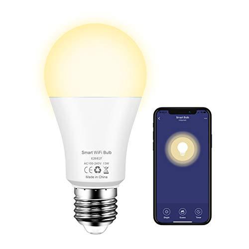 Smart LED-Lampe E27 WLAN Glühbirnen, 13W Wifi Glühbirne Birne Dimmbar über App, warmweiß 2700K Smart Lampe kompatibel mit Amazon Alexa, Google Home, Kein Hub Erforderlich