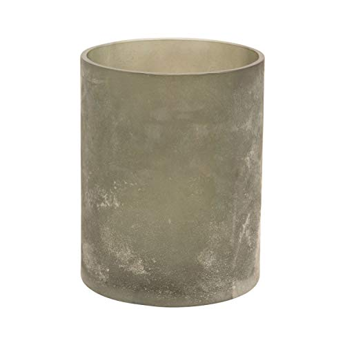 Creative Co-op Glass Votive, Distressed Frosted Charcoal Finish Candle...