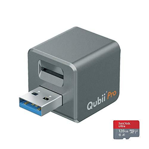 Maktar Qubii Pro グレー (microSD 128GB付) 充電しながら自動バックアップ iphone usbメモリ ipad 容量不足解消 写真 動画 音楽 連絡先 SNS データ 移行 SDカードリーダー 機種変更 MFi認証