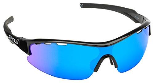 Cressi Vento Occhiali da Sole, Unisex - Adulto, Nero/Lenti Specchiate Blu