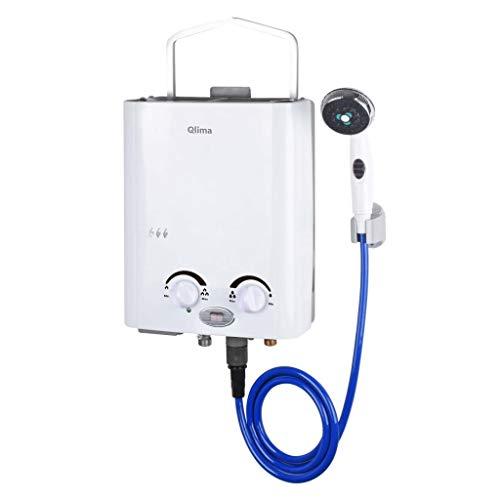 Qlima Gas Durchlauferhitzer Tragbar Wasserboiler Boiler Warmwasserheizung Warmwasserbereiter Warmwasserspeicher Gastherme Propan Camping Dusche 5,5 L